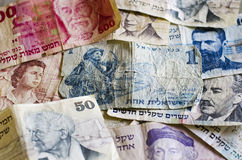 Notas de banco israelitas velhas Fotografia de Stock Royalty Free