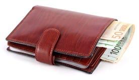 Notas de banco na bolsa Fotografia de Stock