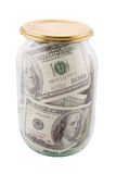 Notas de banco no banco de vidro Imagens de Stock Royalty Free