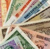 Notas de banco peruanas velhas imagem de stock