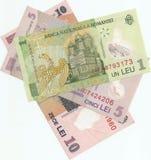 Notas de banco romenas Imagens de Stock