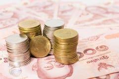 Notas de banco tailandesas Fotos de Stock Royalty Free