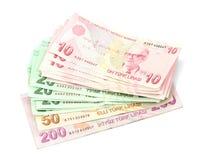 Notas de banco turcas Lira turca (TL) Imagens de Stock
