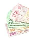 Notas de banco turcas Lira turca (TL) no fundo branco Imagem de Stock Royalty Free