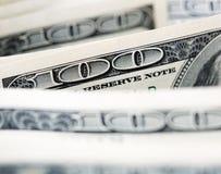 $100 notas de dólar Imagem de Stock