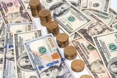 Notas de dólar da moeda dos E.U. como o fundo Imagem de Stock Royalty Free