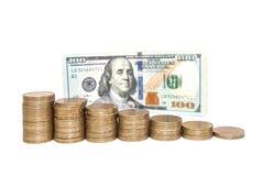Notas de dólar da moeda dos E.U. como o fundo Fotografia de Stock