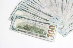 Notas de dólar do americano cem do dinheiro Fotos de Stock Royalty Free