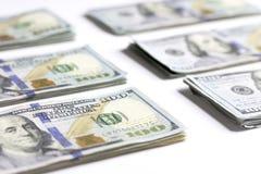 Notas de dólar do americano cem do dinheiro Fotografia de Stock