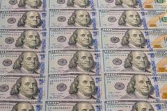 Notas de dólar do americano cem do dinheiro 100 Foto de Stock
