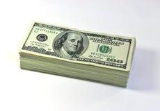 Notas de dólar dos E.U. cem Foto de Stock Royalty Free