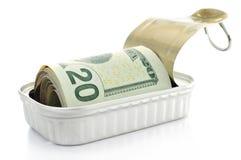 Notas de dólar dos E.U. em uma lata Fotografia de Stock