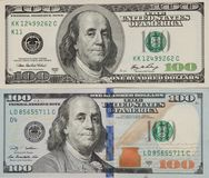 100 notas de dólar e cédulas velhas e novas, a parte anterior Imagens de Stock Royalty Free