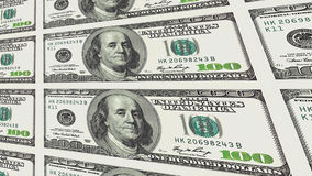 100 notas de dólar na perspectiva da distância 3d Imagens de Stock Royalty Free