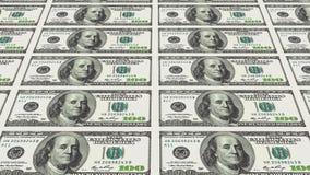 100 notas de dólar na perspectiva da distância 3d Fotos de Stock Royalty Free