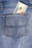 Notas de dólar novas dos E.U. cem no bolso traseiro  Imagens de Stock Royalty Free