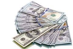 Notas de dólar novas e velhas do modelo 100 Fotografia de Stock