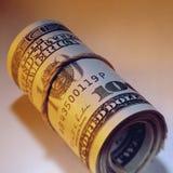 Notas de dólar - punhado do dinheiro Imagens de Stock