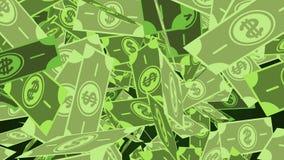 Notas de dólar que caem através do ar filme