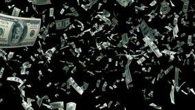 Notas de dólar de voo no movimento rápido com canal alfa Fundo animado de Digitas com notas de dólar no vento chroma ilustração royalty free