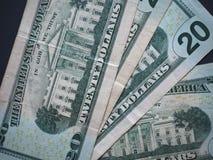 Notas de 20 dólares, Estados Unidos Fotografia de Stock