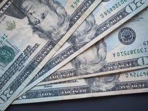Notas de 20 dólares, Estados Unidos Imagen de archivo libre de regalías