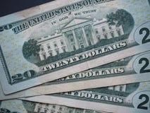 Notas de 20 dólares, Estados Unidos Foto de archivo