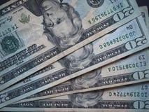 Notas de 20 dólares, Estados Unidos Imágenes de archivo libres de regalías