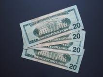 Notas de 20 dólares, Estados Unidos Imagenes de archivo