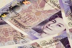 Notas de dinheiro esterlinas Fotos de Stock Royalty Free
