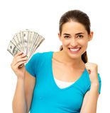 Notas de dólar ventiladas da mulher terra arrendada entusiasmado Fotos de Stock