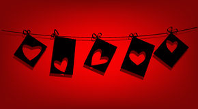 Notas de forma del amor de la tarjeta del día de San Valentín Foto de archivo libre de regalías
