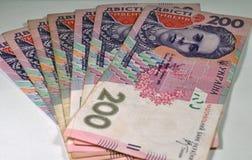 Notas de Hryvnia em um fundo claro Fotografia de Stock Royalty Free
