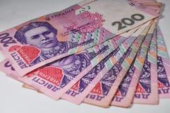Notas de Hryvnia em um fundo claro Imagem de Stock