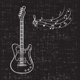 Notas de la guitarra eléctrica y de la música Foto de archivo libre de regalías