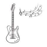 Notas de la guitarra eléctrica y de la música Imágenes de archivo libres de regalías