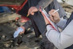 Notas de la inspección del vehículo fotos de archivo libres de regalías