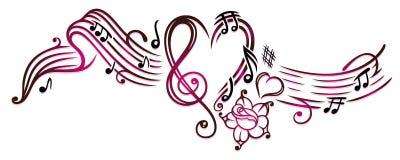 Notas de la música con la clave libre illustration