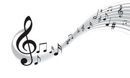 Notas de la música con las líneas onduladas ilustración del vector