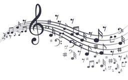 Notas de la música con las ondas en blanco ilustración del vector
