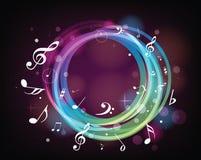 Notas de la música de iluminación Imagen de archivo libre de regalías