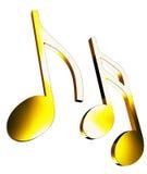 Notas de la música del oro Ilustración del Vector