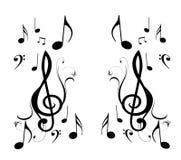 Notas de la música e imagen de espejo