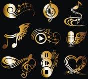 Notas de la música fijadas ilustración del vector