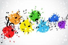 Notas de la música - fondo del color Fotos de archivo