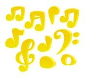 Notas de la música de la historieta del vector Imagen de archivo