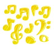 Notas de la música de la historieta del vector Fotos de archivo libres de regalías