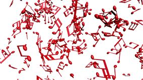 Notas de la música que fluyen en el fondo blanco stock de ilustración