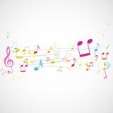 Notas de la música sobre bastón Foto de archivo libre de regalías