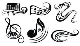 Notas de la música sobre bastones ilustración del vector